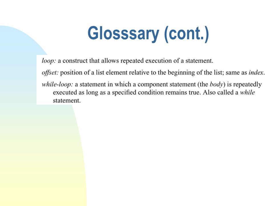 Glosssary (cont.)