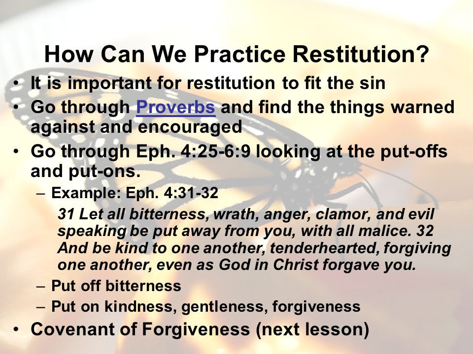 How Can We Practice Restitution.
