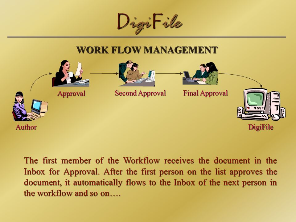 D igi F ile WORK FLOW MANAGEMENT The first member of the Workflow receives the document in the Inbox for Approval.