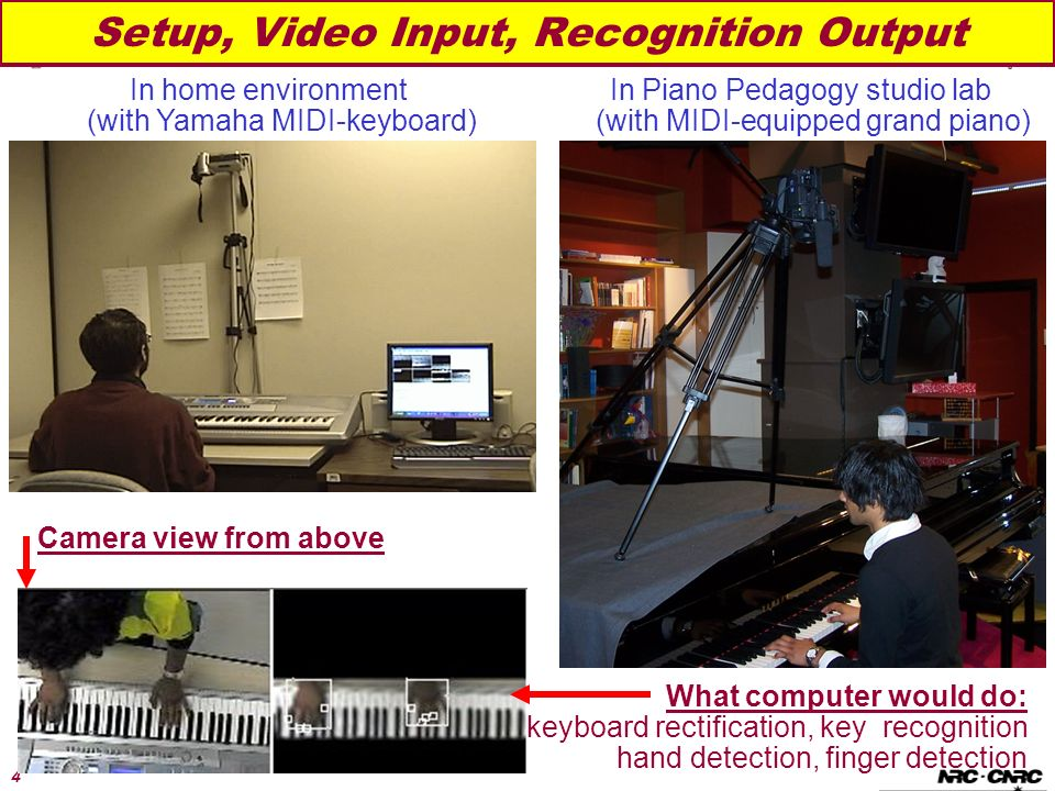4 Setup, Video Input, Recognition Output In Piano Pedagogy studio lab (with MIDI-equipped grand piano) In home environment (with Yamaha MIDI-keyboard) Camera view from above What computer would do: keyboard rectification, key recognition hand detection, finger detection