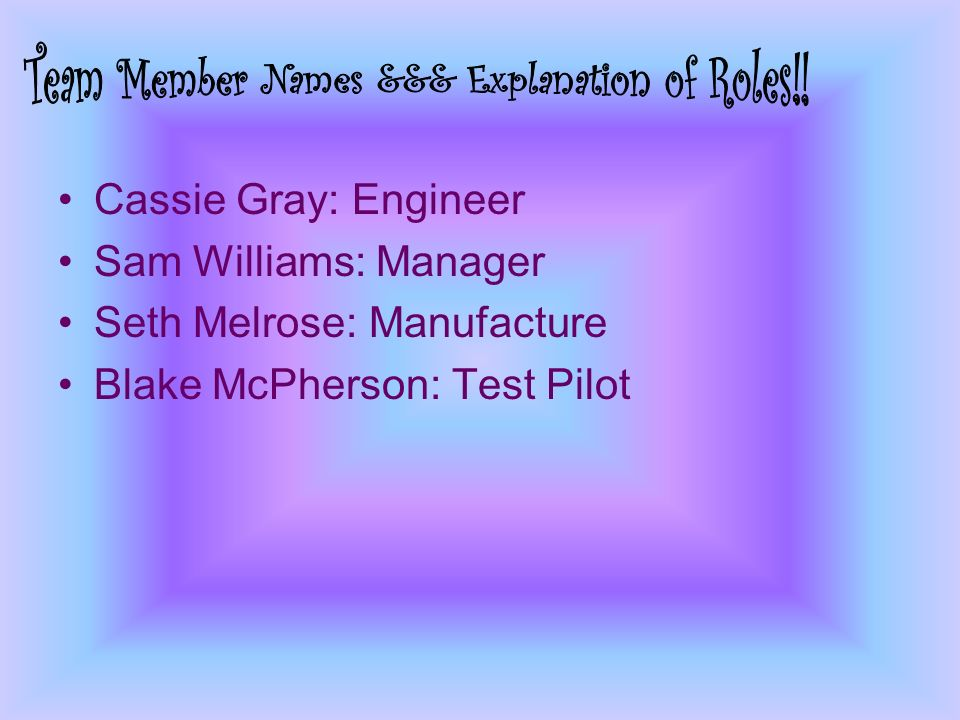 Cassie Gray: Engineer Sam Williams: Manager Seth Melrose: Manufacture Blake McPherson: Test Pilot