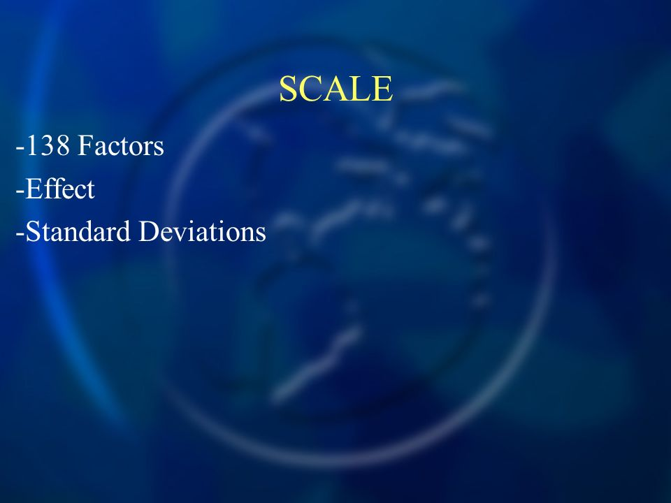 SCALE -138 Factors -Effect -Standard Deviations
