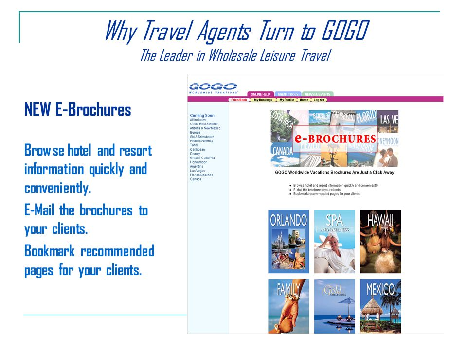 Why Travel Agents Turn to GOGO The Leader in Wholesale Leisure Travel NEW E-Brochures Browse hotel and resort information quickly and conveniently.
