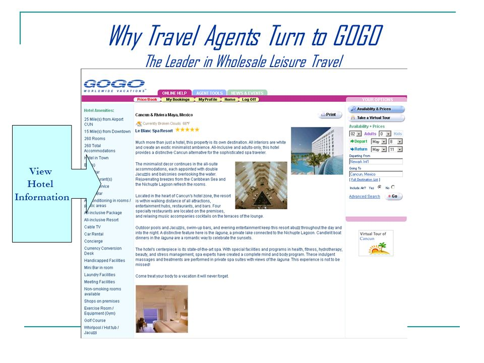 View Hotel Information Why Travel Agents Turn to GOGO The Leader in Wholesale Leisure Travel