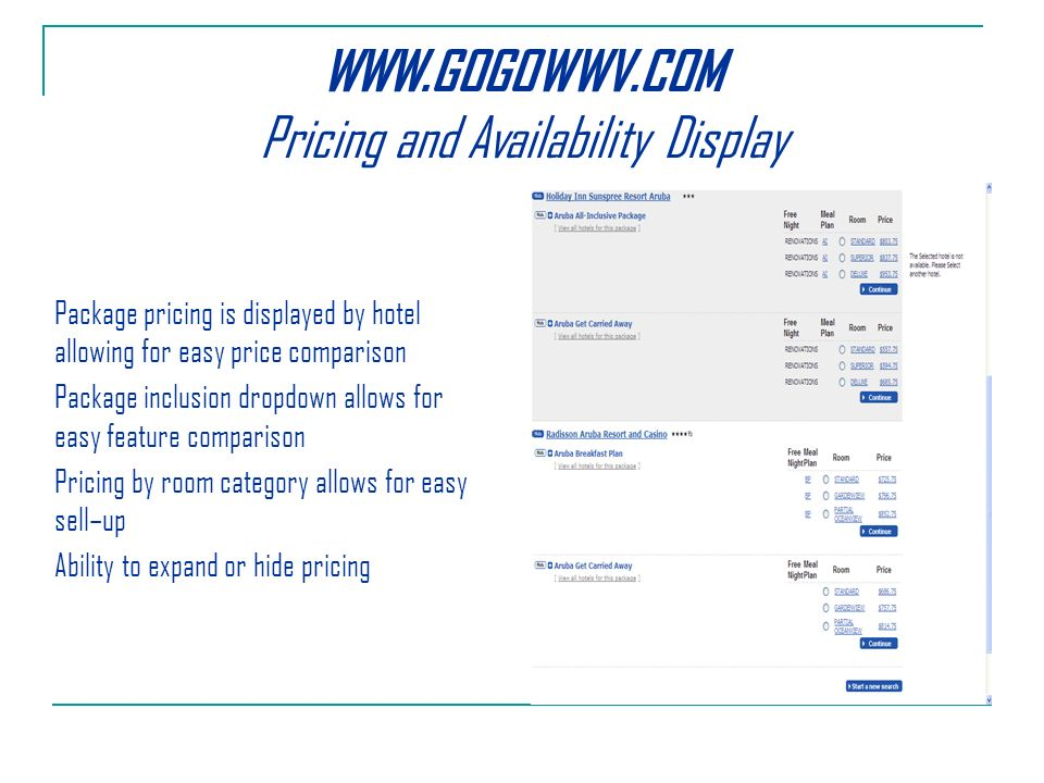 Pricing and Availability Display Package pricing is displayed by hotel allowing for easy price comparison Package inclusion dropdown allows for easy feature comparison Pricing by room category allows for easy sell–up Ability to expand or hide pricing