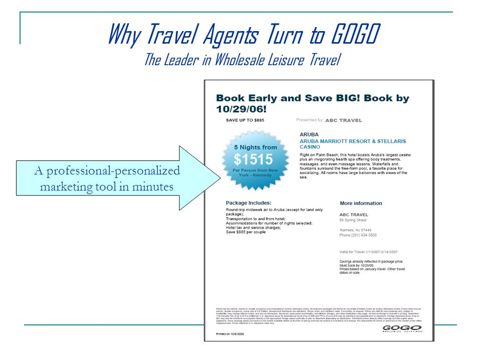 Why Travel Agents Turn to GOGO The Leader in Wholesale Leisure Travel A professional-personalized marketing tool in minutes