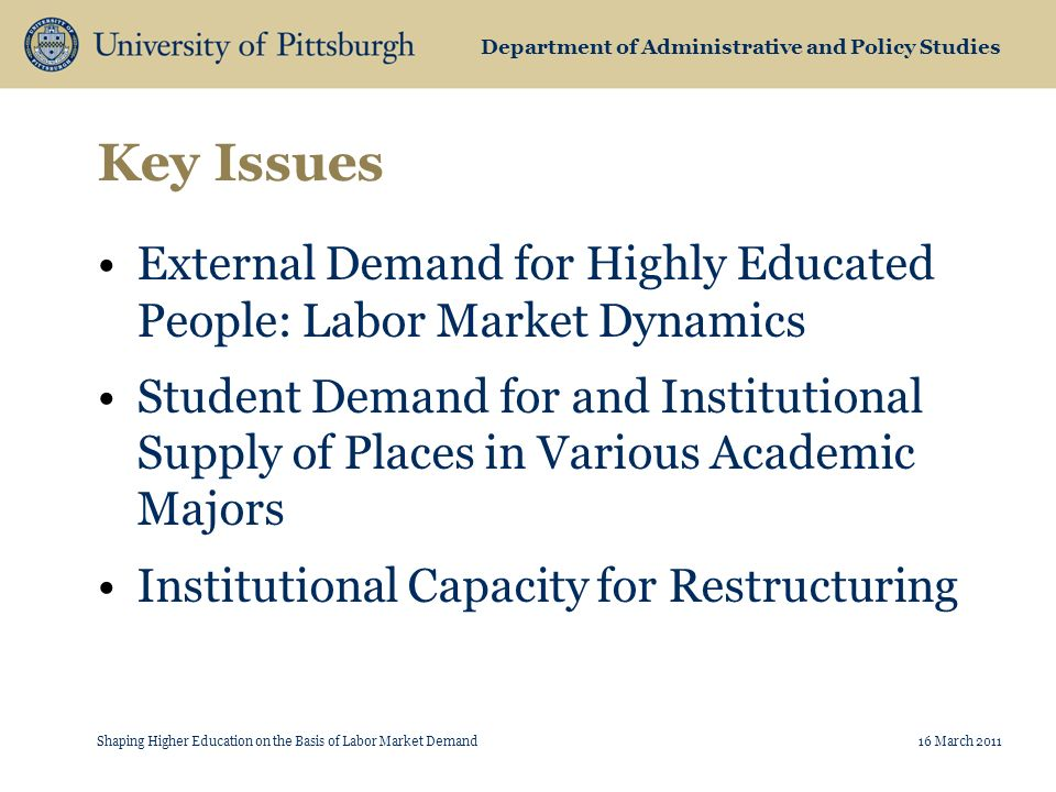 Department of Administrative and Policy Studies Key Issues External Demand for Highly Educated People: Labor Market Dynamics Student Demand for and Institutional Supply of Places in Various Academic Majors Institutional Capacity for Restructuring Shaping Higher Education on the Basis of Labor Market Demand16 March 2011