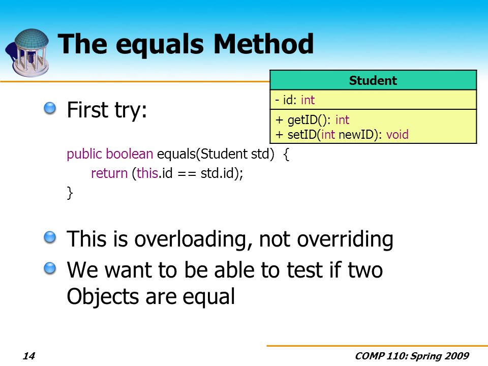 COMP 110: Spring 200914 The equals Method First try: public boolean equals(Student std) { return (this.id == std.id); } This is overloading, not overriding We want to be able to test if two Objects are equal Student - id: int + getID(): int + setID(int newID): void