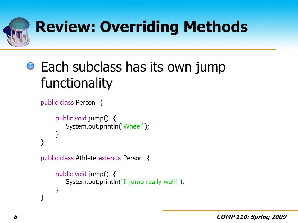 COMP 110: Spring 20096 Review: Overriding Methods Each subclass has its own jump functionality public class Person { public void jump() { System.out.println( Whee! ); } public class Athlete extends Person { public void jump() { System.out.println( I jump really well! ); }