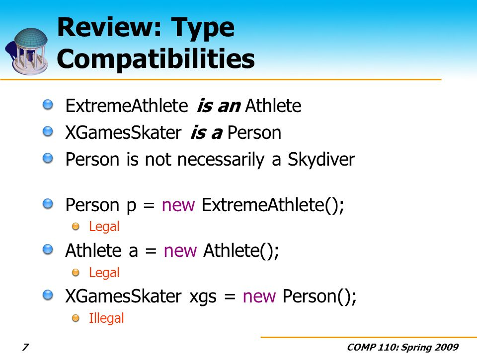 COMP 110: Spring 20097 Review: Type Compatibilities ExtremeAthlete is an Athlete XGamesSkater is a Person Person is not necessarily a Skydiver Person p = new ExtremeAthlete(); Legal Athlete a = new Athlete(); Legal XGamesSkater xgs = new Person(); Illegal