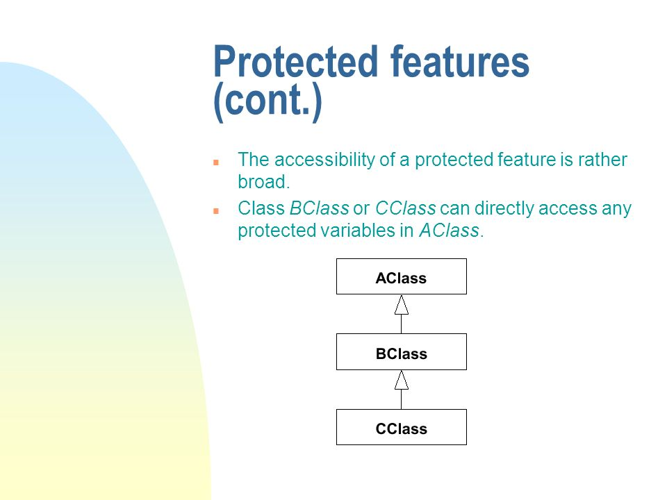 Protected features (cont.) n The accessibility of a protected feature is rather broad.
