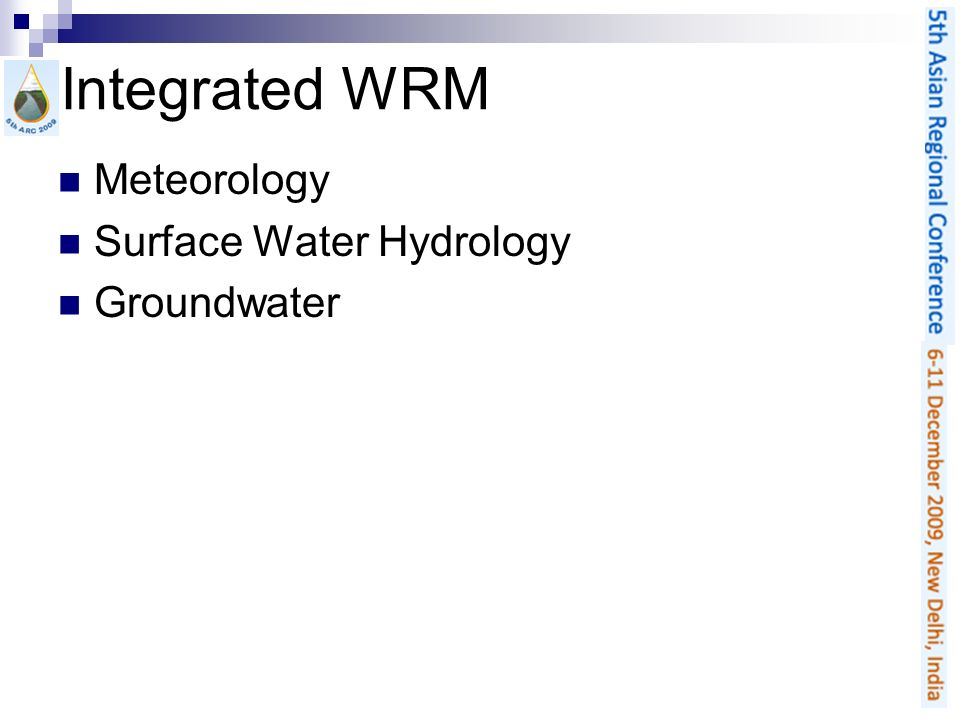 Integrated WRM Meteorology Surface Water Hydrology Groundwater