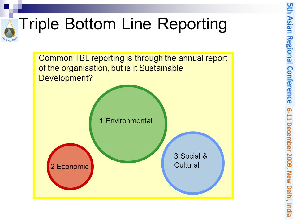Triple Bottom Line Reporting 1 Environmental 2 Economic 3 Social & Cultural Common TBL reporting is through the annual report of the organisation, but is it Sustainable Development