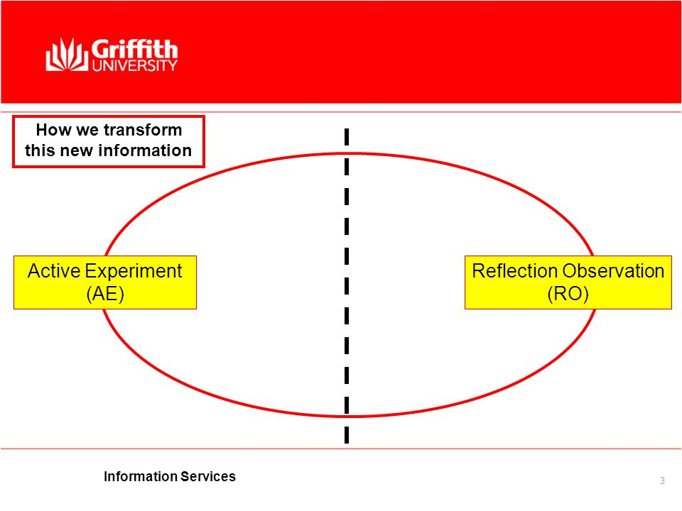 Information Services 3 Active Experiment (AE) Reflection Observation (RO) How we transform this new information
