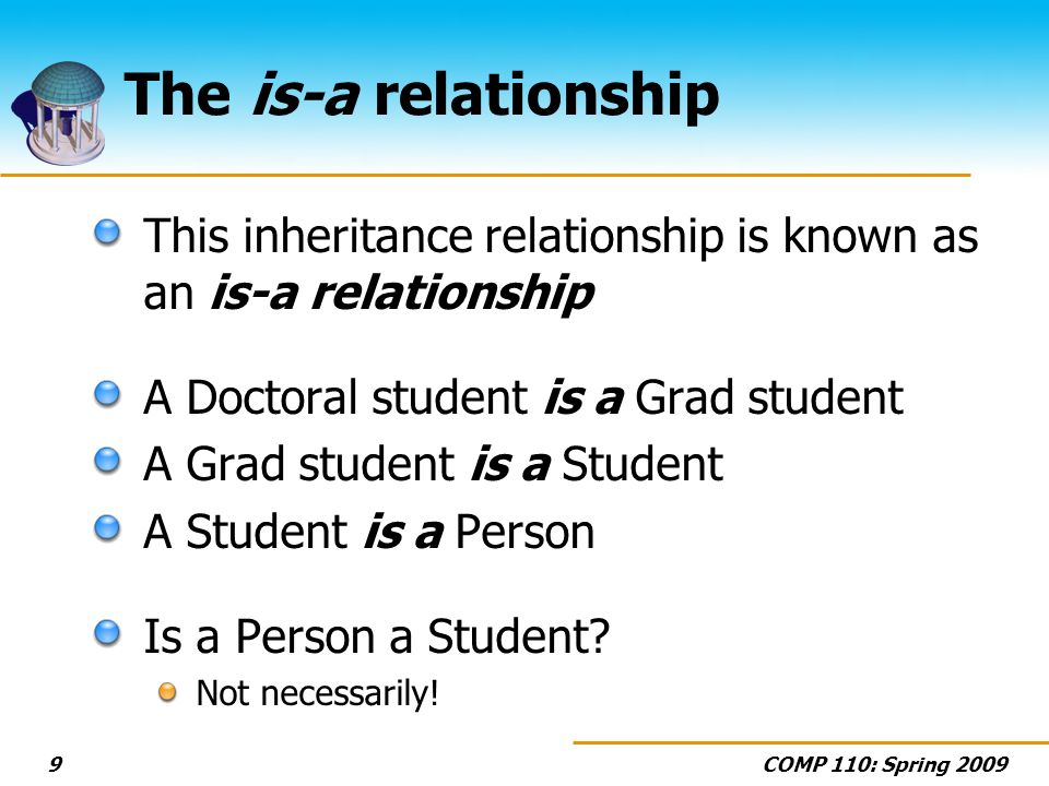COMP 110: Spring The is-a relationship This inheritance relationship is known as an is-a relationship A Doctoral student is a Grad student A Grad student is a Student A Student is a Person Is a Person a Student.