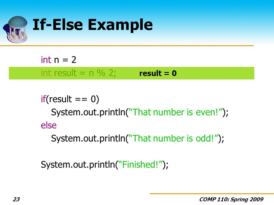 COMP 110: Spring If-Else Example int n = 2 int result = n % 2; if(result == 0) System.out.println(That number is even!); else System.out.println(That number is odd!); System.out.println(Finished!); result = 0