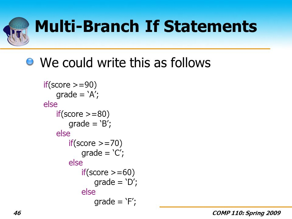 COMP 110: Spring Multi-Branch If Statements We could write this as follows if(score >=90) grade = A; else if(score >=80) grade = B; else if(score >=70) grade = C; else if(score >=60) grade = D; else grade = F;