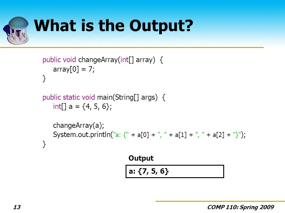 COMP 110: Spring What is the Output.