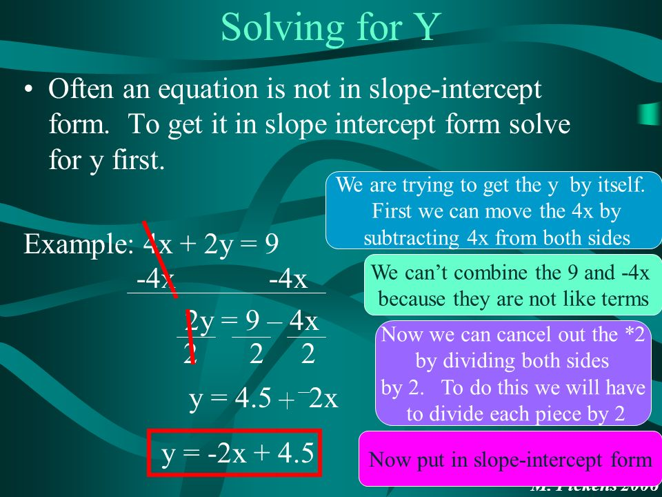 M. Pickens 2006 Solving for Y Often an equation is not in slope-intercept form.