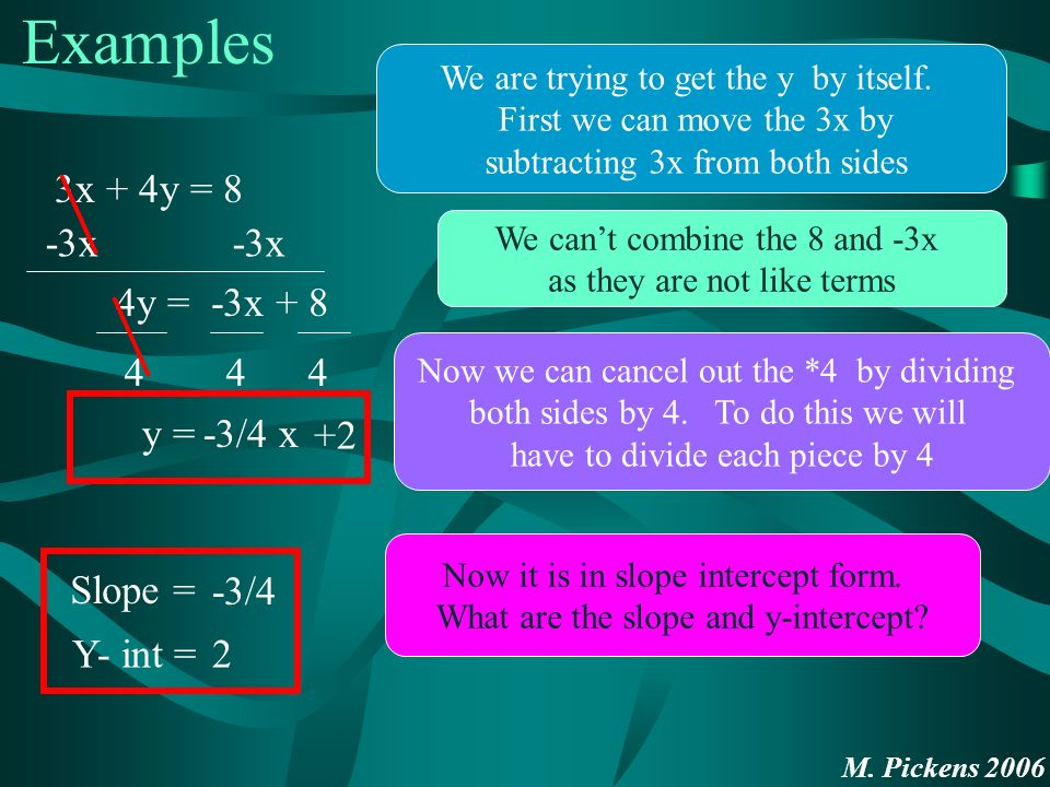 M. Pickens 2006 Examples 3x + 4y = 8 We are trying to get the y by itself.