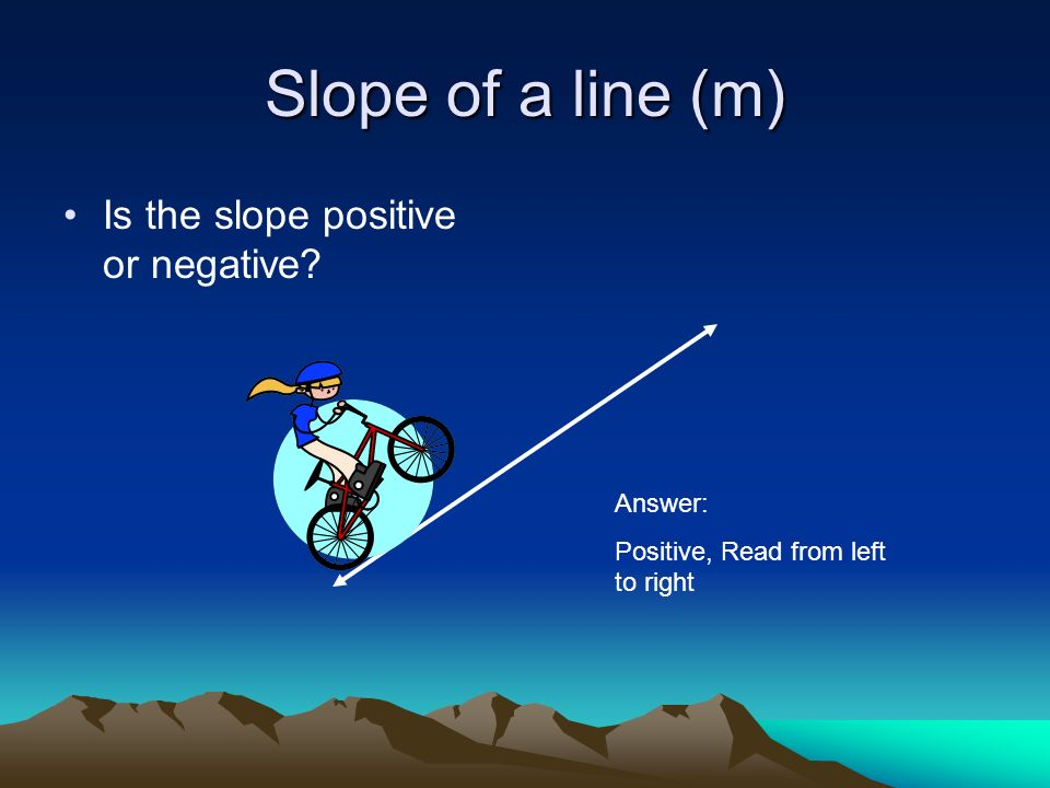Slope of a line (m) Is the slope positive or negative Answer: Positive, Read from left to right