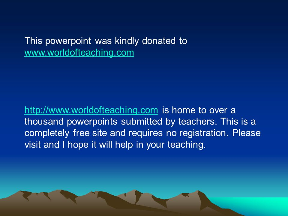 This powerpoint was kindly donated to is home to over a thousand powerpoints submitted by teachers.