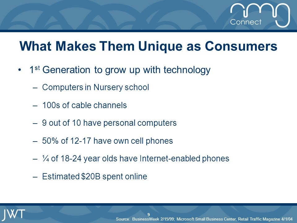 9 What Makes Them Unique as Consumers 1 st Generation to grow up with technology –Computers in Nursery school –100s of cable channels –9 out of 10 have personal computers –50% of have own cell phones –¼ of year olds have Internet-enabled phones –Estimated $20B spent online Source: BusinessWeek 2/15/99; Microsoft Small Business Center, Retail Traffic Magazine 4/1/04