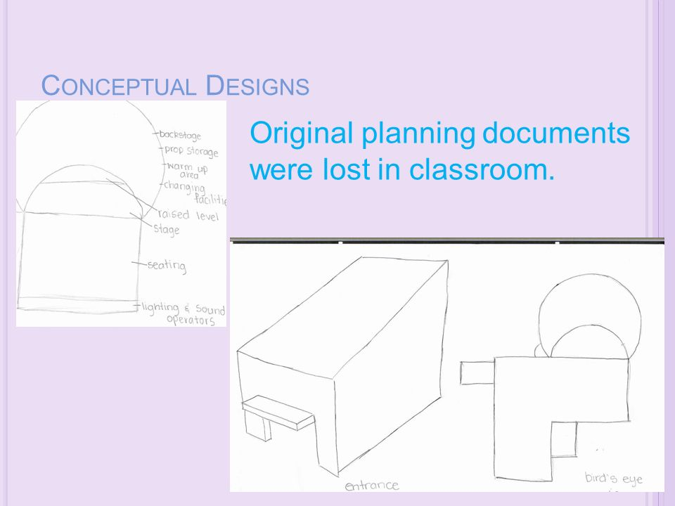 C ONCEPTUAL D ESIGNS Original planning documents were lost in classroom.
