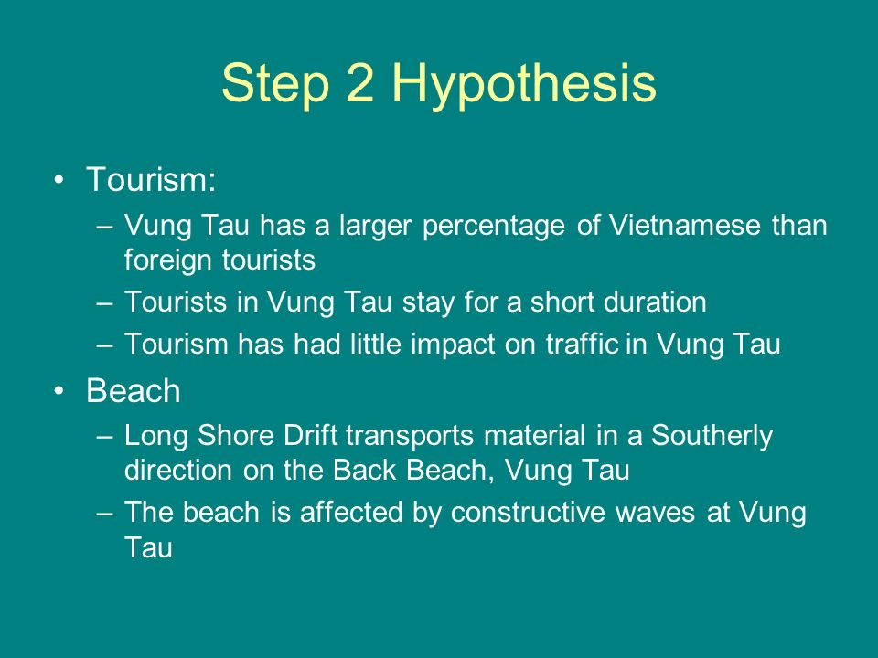 Step 2 Hypothesis Tourism: –Vung Tau has a larger percentage of Vietnamese than foreign tourists –Tourists in Vung Tau stay for a short duration –Tourism has had little impact on traffic in Vung Tau Beach –Long Shore Drift transports material in a Southerly direction on the Back Beach, Vung Tau –The beach is affected by constructive waves at Vung Tau
