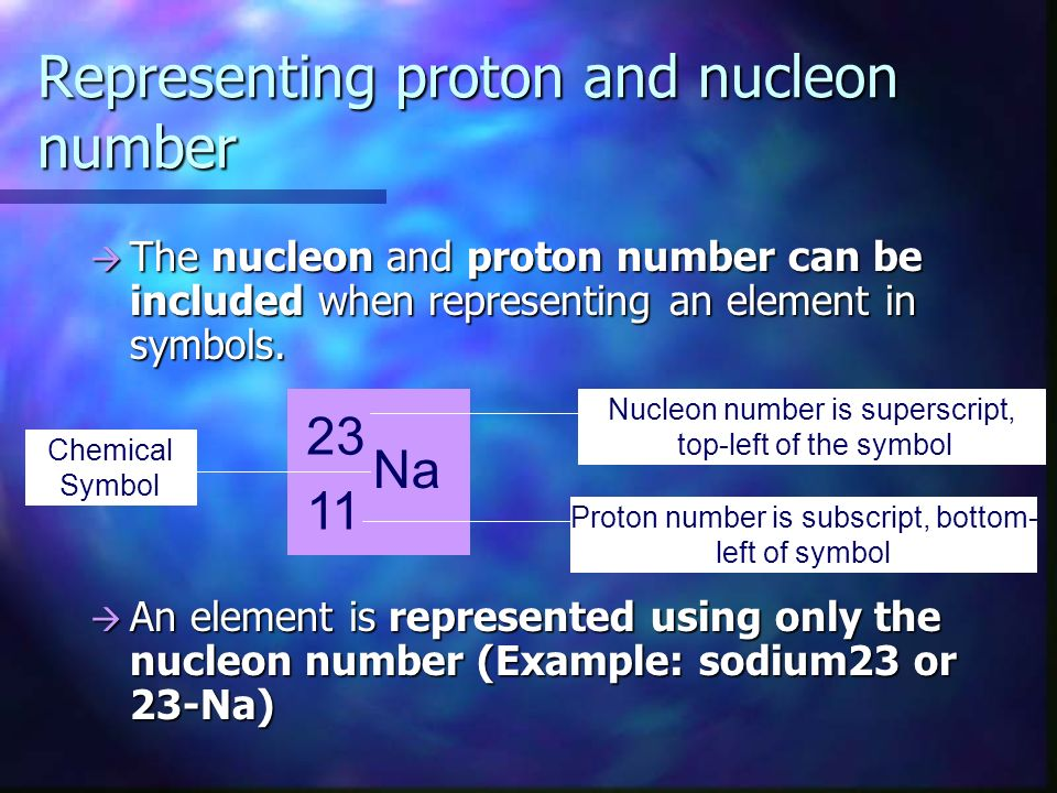 Representing proton and nucleon number The nucleon and proton number can be included when representing an element in symbols.