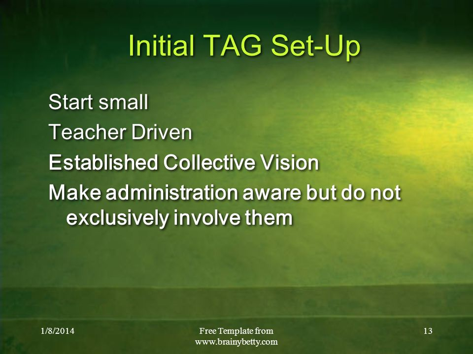 1/8/2014Free Template from   13 Initial TAG Set-Up Start small Teacher Driven Established Collective Vision Make administration aware but do not exclusively involve them Start small Teacher Driven Established Collective Vision Make administration aware but do not exclusively involve them
