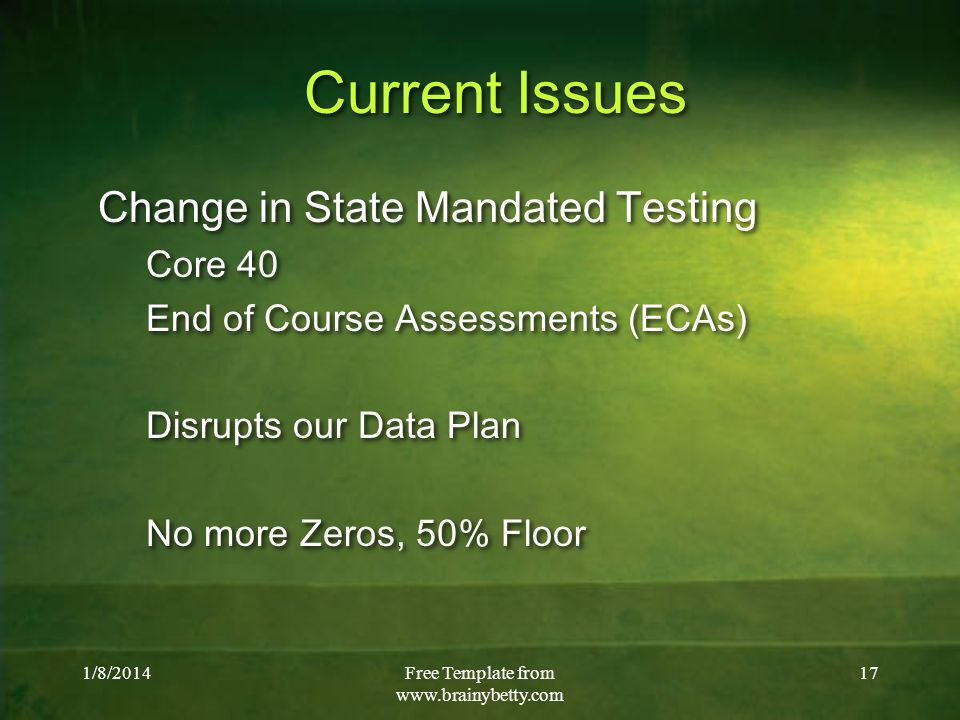 1/8/2014Free Template from   17 Current Issues Change in State Mandated Testing Core 40 End of Course Assessments (ECAs) Disrupts our Data Plan No more Zeros, 50% Floor Change in State Mandated Testing Core 40 End of Course Assessments (ECAs) Disrupts our Data Plan No more Zeros, 50% Floor