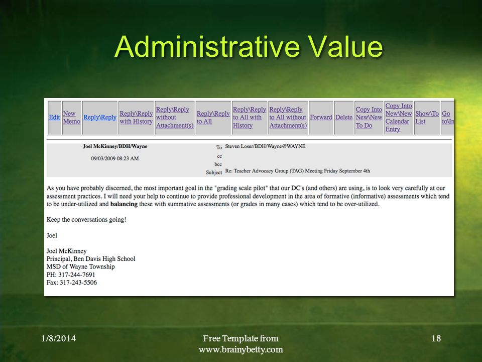 1/8/2014Free Template from   18 Administrative Value