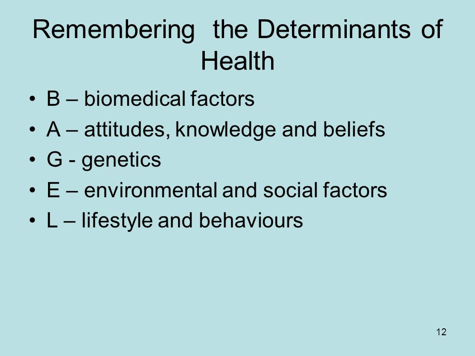12 Remembering the Determinants of Health B – biomedical factors A – attitudes, knowledge and beliefs G - genetics E – environmental and social factors L – lifestyle and behaviours