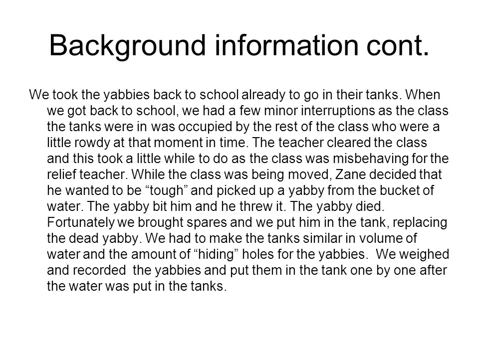 Background information cont. We took the yabbies back to school already to go in their tanks.
