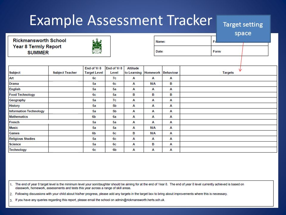 Example Assessment Tracker report Target setting space