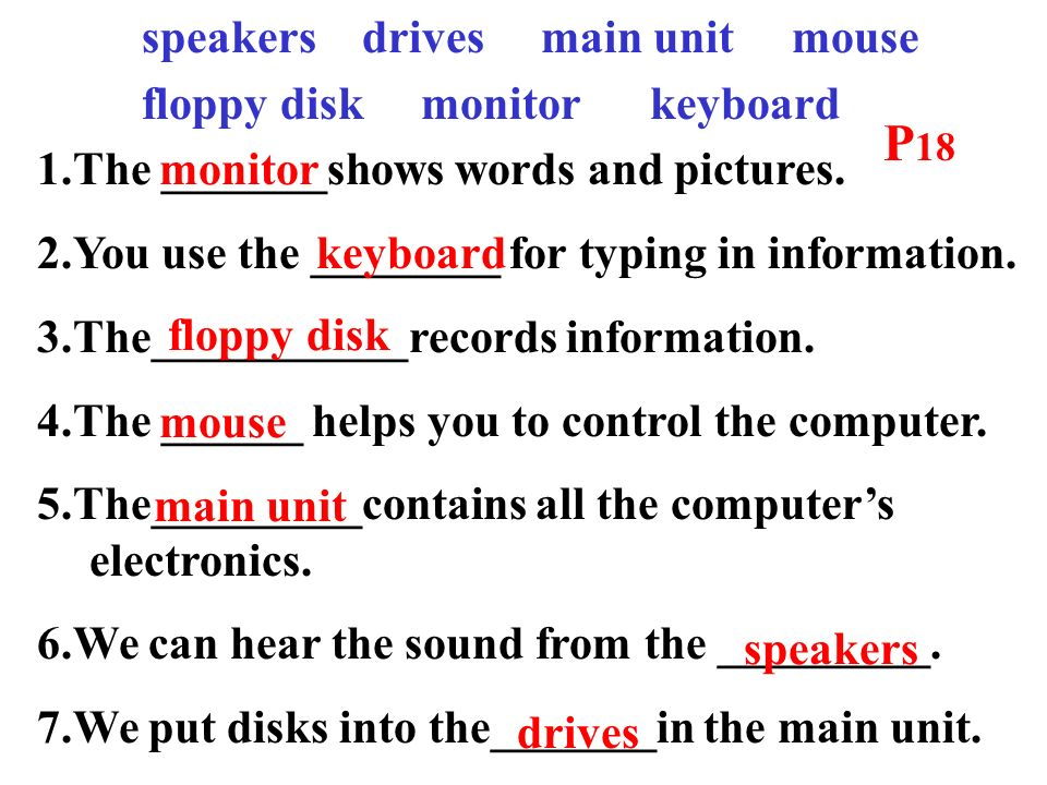 speakers drives main unit mouse floppy disk monitor keyboard 1.The _______shows words and pictures.