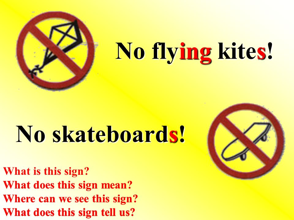 No flying kites. No skateboards. What does this sign mean.