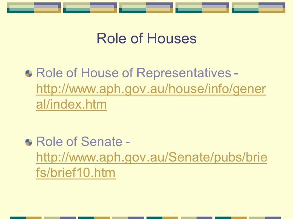 Role of Houses Role of House of Representatives - http://www.aph.gov.au/house/info/gener al/index.htm http://www.aph.gov.au/house/info/gener al/index.htm Role of Senate - http://www.aph.gov.au/Senate/pubs/brie fs/brief10.htm http://www.aph.gov.au/Senate/pubs/brie fs/brief10.htm