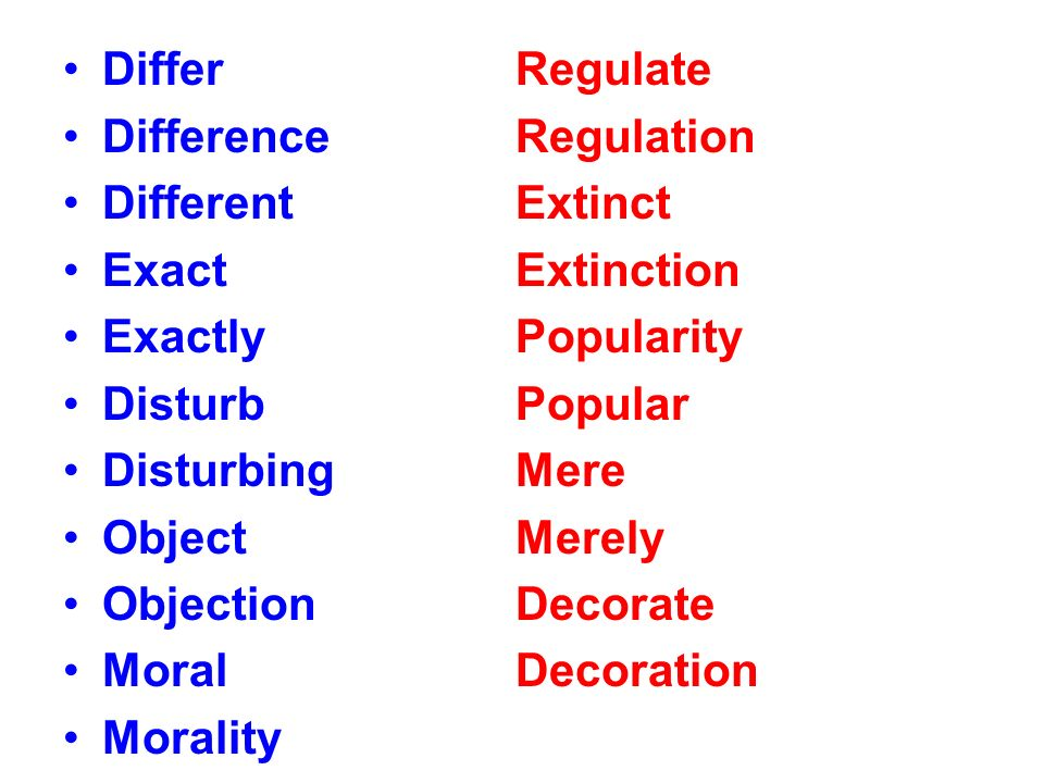 Differ Difference Different Exact Exactly Disturb Disturbing Object Objection Moral Morality Regulate Regulation Extinct Extinction Popularity Popular Mere Merely Decorate Decoration
