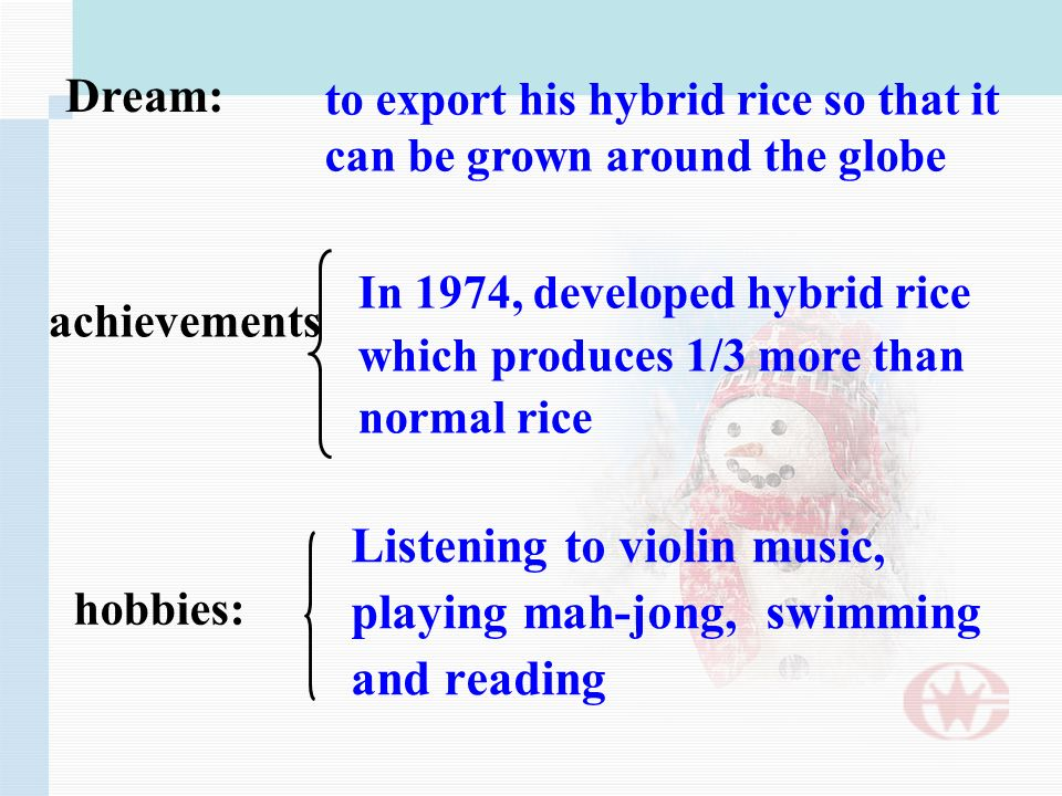 In 1974, developed hybrid rice which produces 1/3 more than normal rice achievements hobbies: Listening to violin music, playing mah-jong, swimming and reading to export his hybrid rice so that it can be grown around the globe Dream: