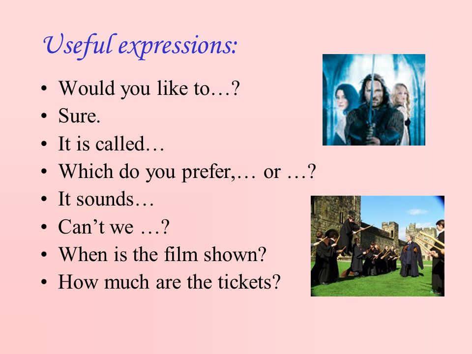 Useful expressions: Would you like to…. Sure. It is called… Which do you prefer,… or ….