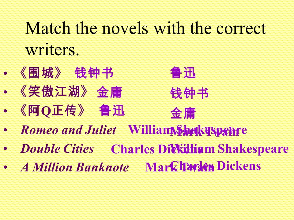 Match the novels with the correct writers.