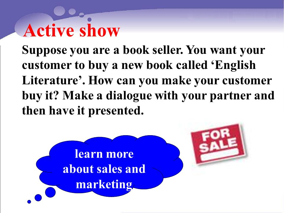 Active show Suppose you are a book seller.
