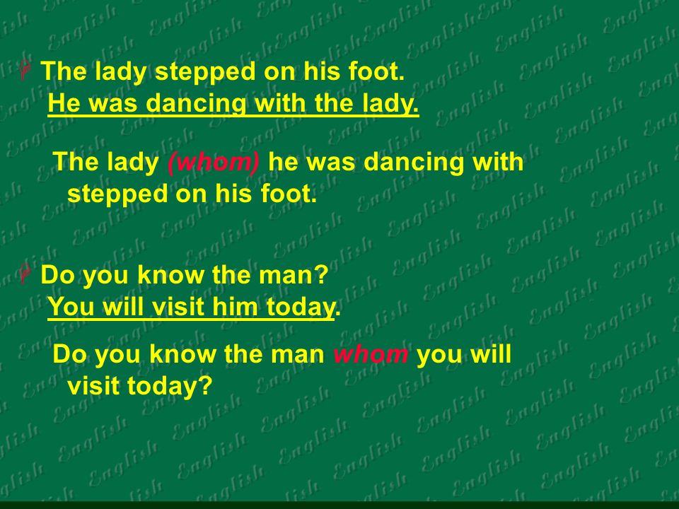 The lady stepped on his foot. He was dancing with the lady.