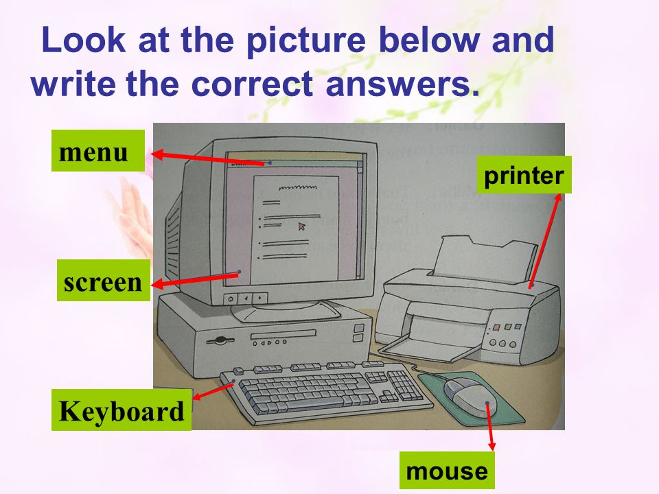 Keyboard menu screen printer mouse Look at the picture below and write the correct answers.