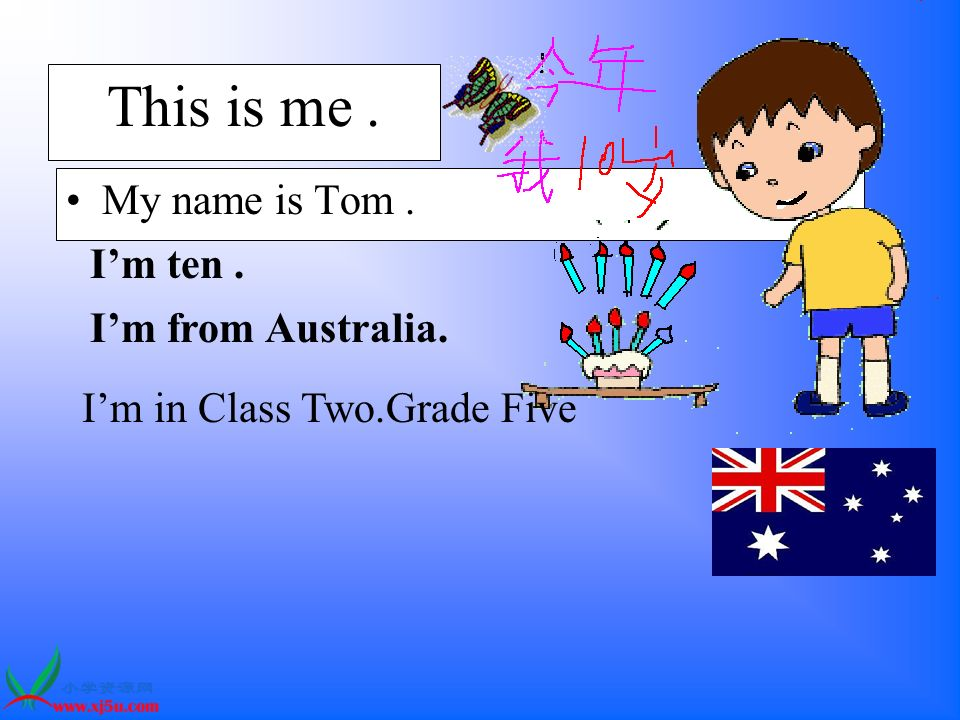 This is me. My name is Tom. Im ten. Im from Australia. Im in Class Two.Grade Five