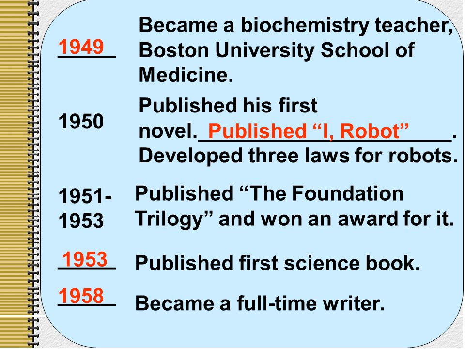 65 _____ _____ Became a biochemistry teacher, Boston University School of Medicine.
