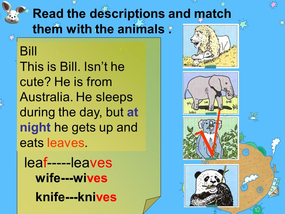 Read the descriptions and match them with the animals.
