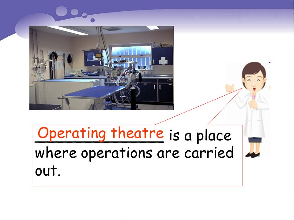 ______________ is a place where operations are carried out. Operating theatre